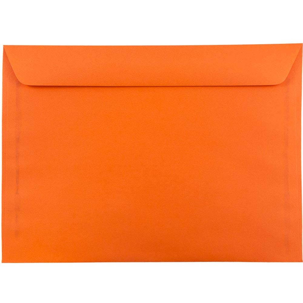 JAM PAPER 9 x 12 Booklet Colored Envelopes - Orange Recycled - 25/Pack