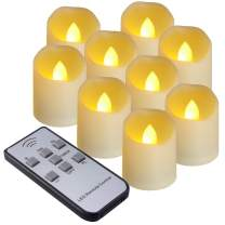 SoulBay 9 PCS Battery Operated LED Votive Candle Flicker Flameless Tea Light with Timer Remote, 1.8x1.6inch Dimmable Unscented Candles 200 Hours Home Party Valentines Galentine Day Decorations