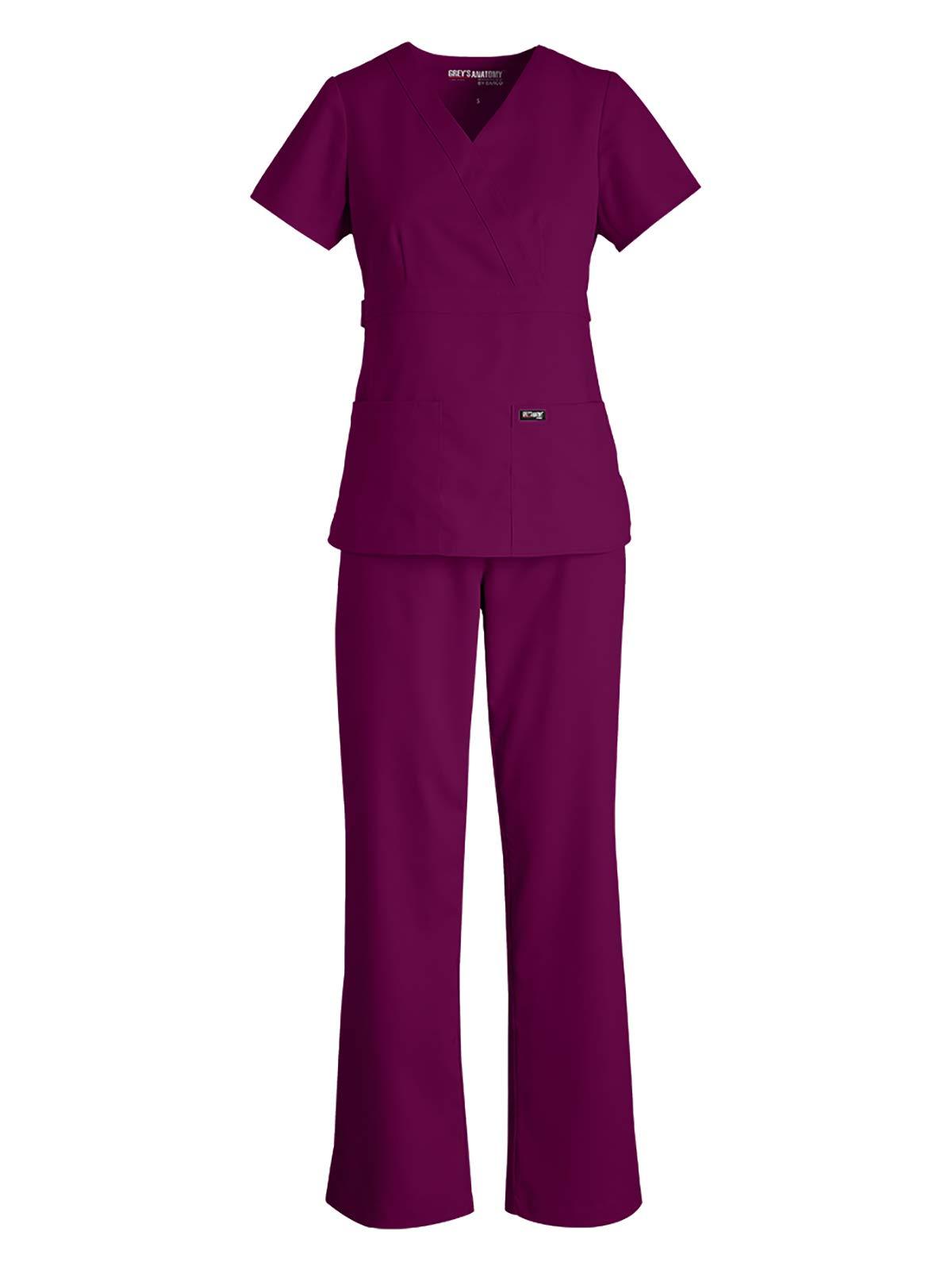 Grey's Anatomy Bundle – 3 Pocket Top with 5 Pocket Pant Medical Scrub Set for Women