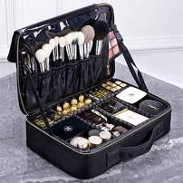 ROWNYEON Cosmetic Bag Makeup Artist Makeup Train Case Portable EVA Makeup Organizer Case (Medium Black)
