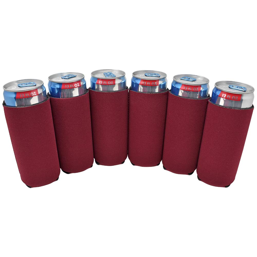 TahoeBay 12 Slim Can Sleeves - Blank Neoprene Beer Coolers – Compatible with 12oz RedBull, Michelob Ultra, White Claw Spiked Seltzer (Maroon, 12)