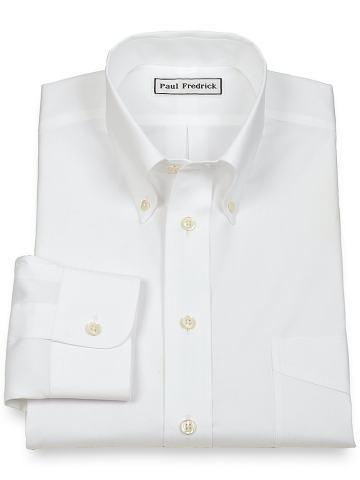 Paul Fredrick Men's Non-Iron 2-Ply Cotton Button Down Collar Dress Shirt