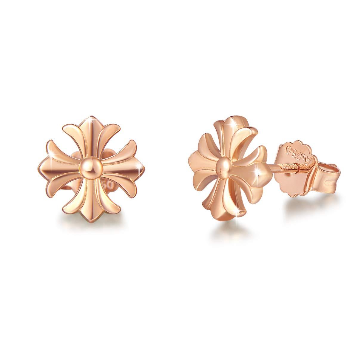 Mother's Day Gift | FANCIME 18K Real Rose Gold Four-leaf Clover/Cross/Geometric Stud Earrings Small Dainty Earrings Fine Jewelry for Women Girls