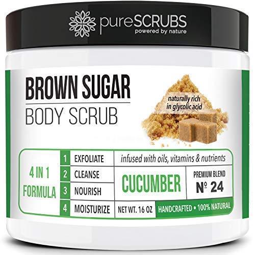 pureSCRUBS Premium Organic Brown Sugar CUCUMBER FACE & BODY SCRUB Set - Large 16oz, Infused With Organic Essential Oils & Nutrients + FREE Wooden Spoon, Loofah & Mini Exfoliating Bar