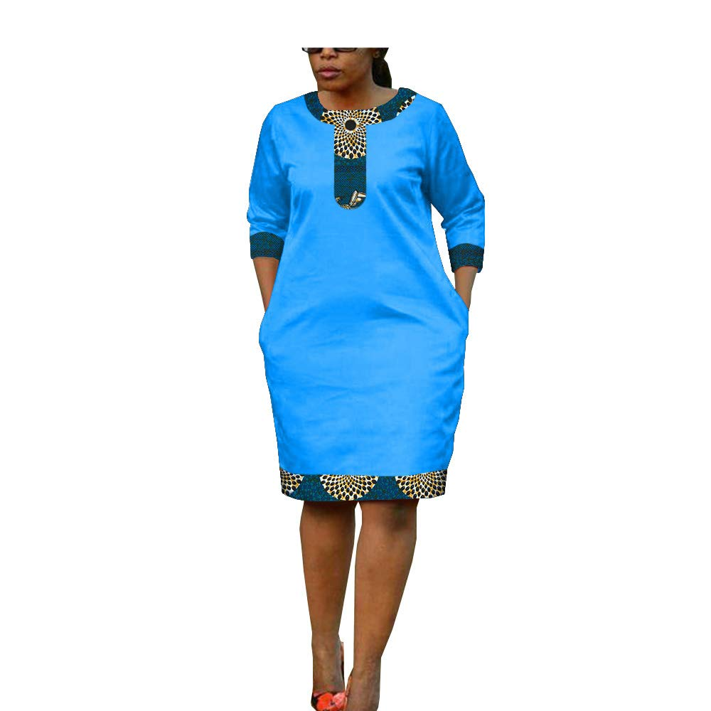 African Ankara Print Women Casual Pencil Dress Tailor Made Half Sleeve Knee Length 100% Batik Cotton Made AA1825093A