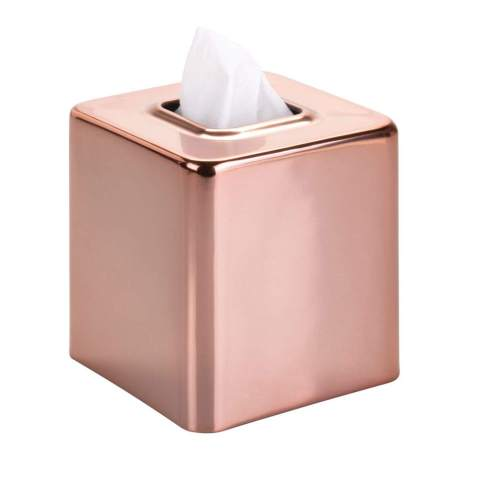 mDesign Modern Square Metal Paper Facial Tissue Box Cover Holder for Bathroom Vanity Countertops, Bedroom Dressers, Night Stands, Desks and Tables - Rose Gold