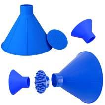 MVORVTC Windshield Ice Scraper, Car Window Snow Remover Cone-Shaped Magic Snow Scraper Round Funnel Removal Frost Shovels Tool (Blue 2Pack)