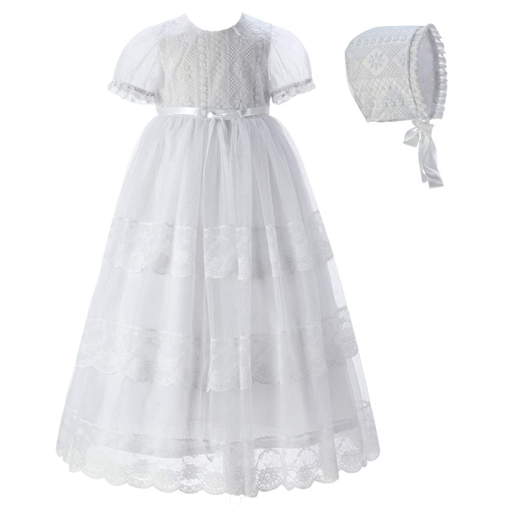 NIUBAO Baby Neborn Baptism Christening Floral Embroidered Dress Gown with Bonnet for 0-12 Months
