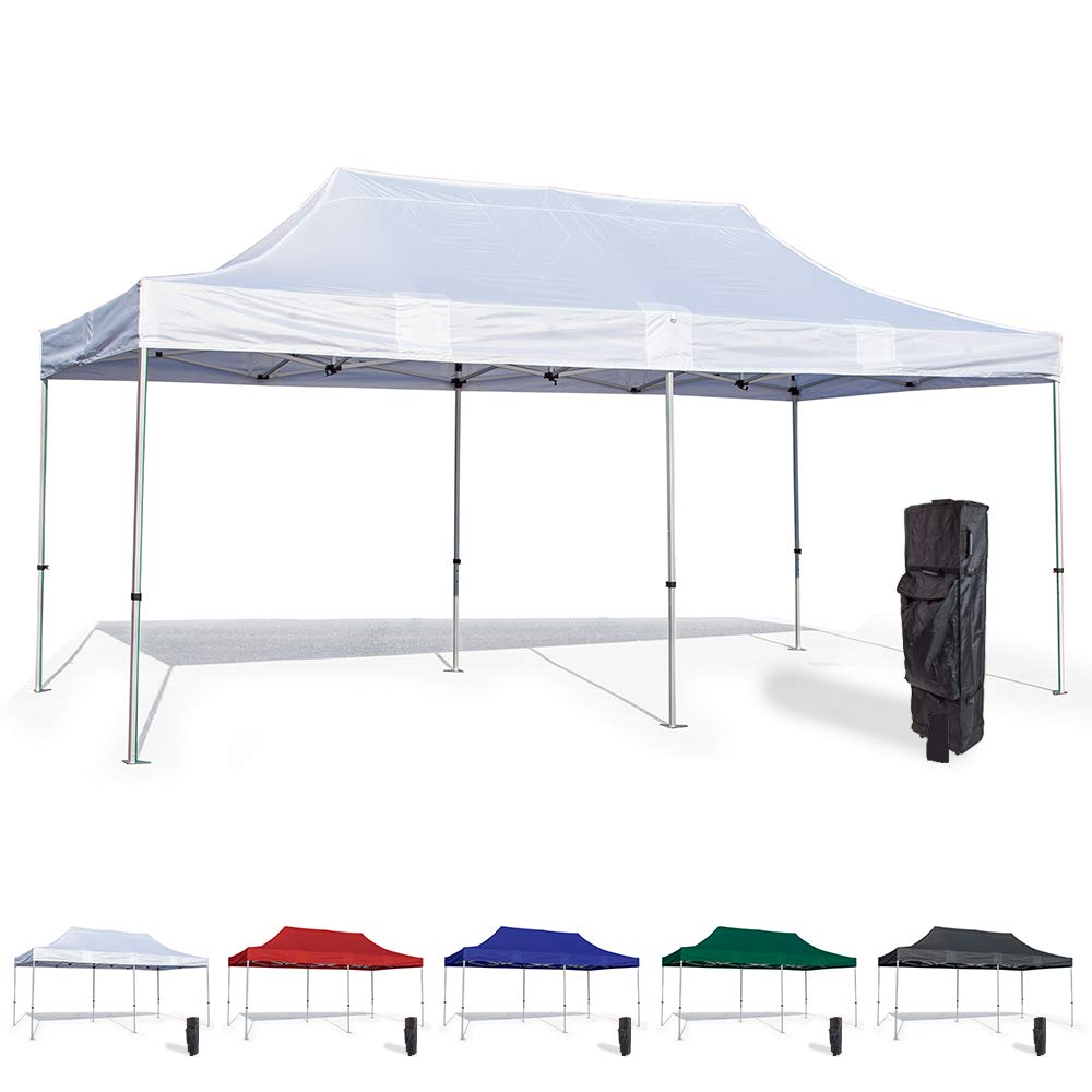 Vispronet 10x20 Pop Up Canopy Tent – Durable Aluminum Frame with Water-Resistant Polyester Fabric Top – Sturdy Wheeled Canopy Bag and Stake Kit Included (White)