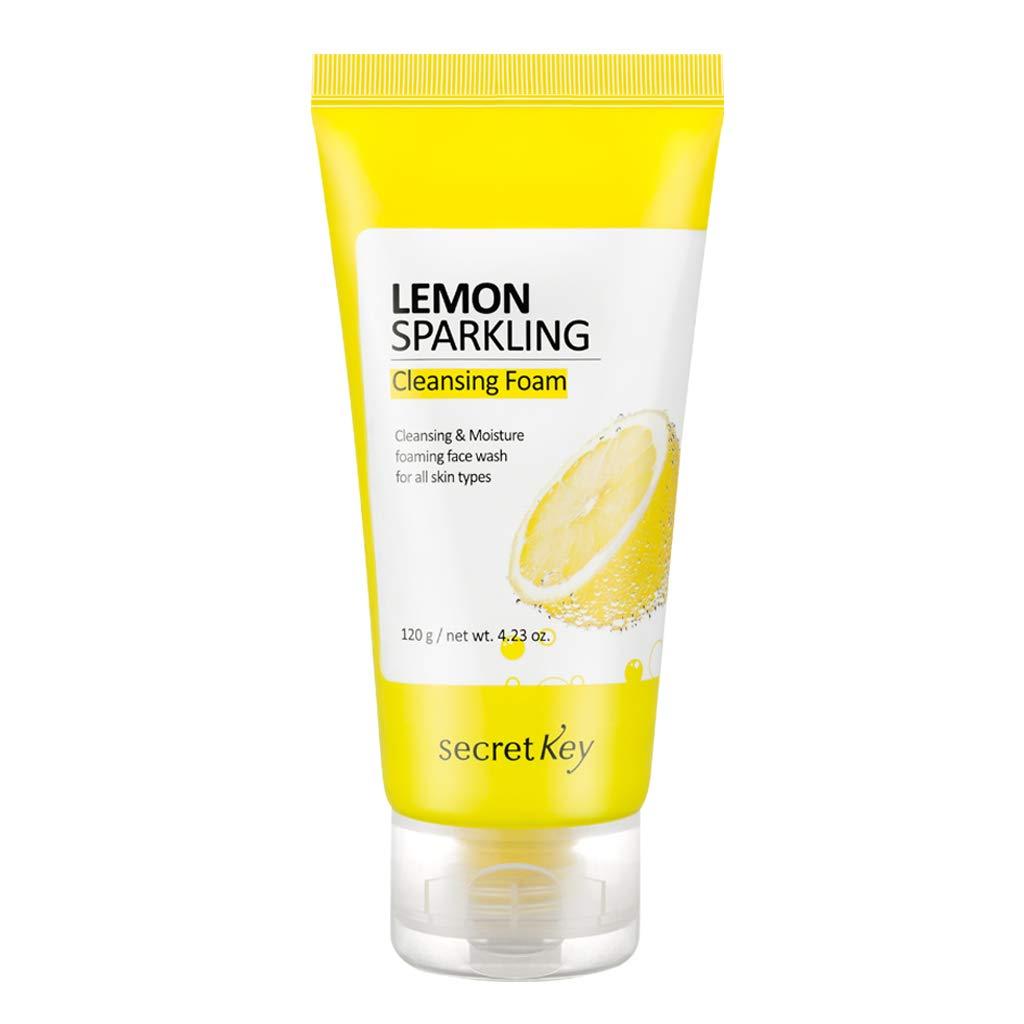 SECRETKEY Lemon Sparkling Cleansing Foam 120g - Deep Cleansing Facial Cleanser, Lemon & Sparkling Water Make Skin Clearing and Purifying, Soft and Abundant Bubbles Remove Sebum and Blackhead
