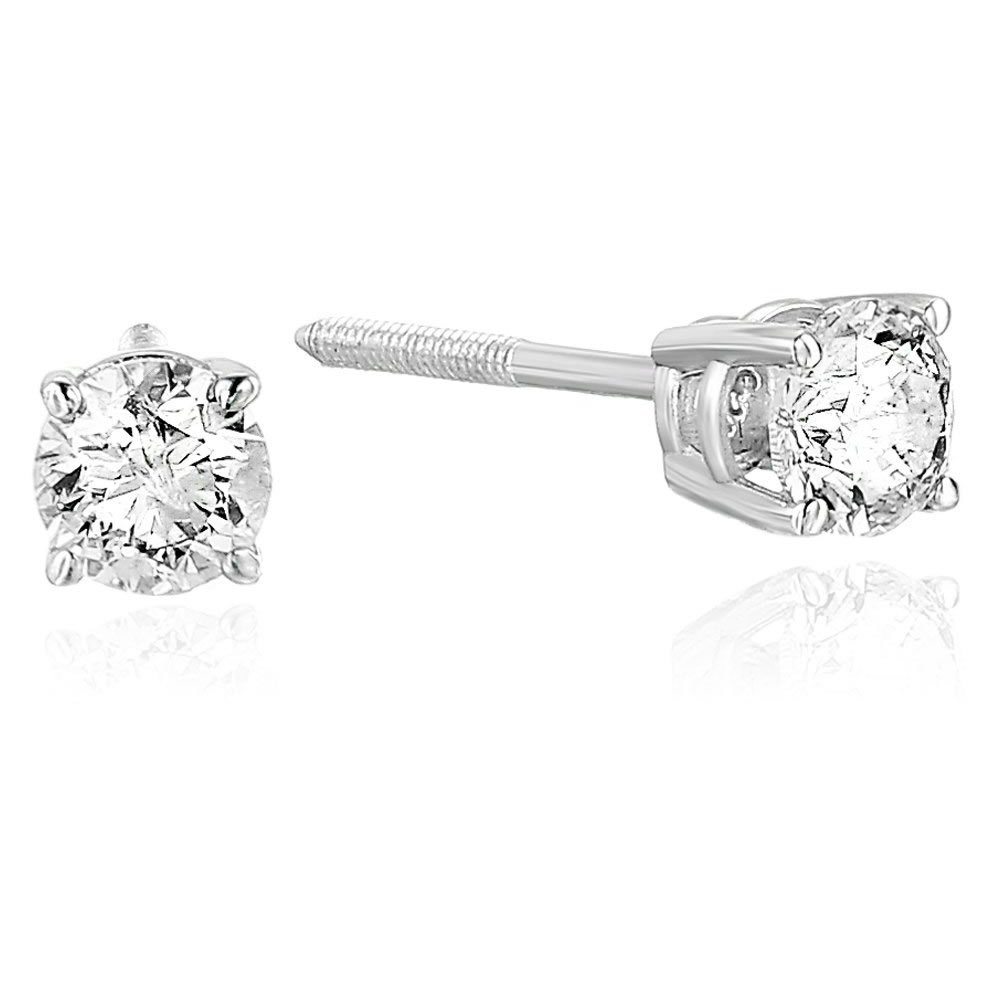 1/3 cttw VS2-SI1 Clarity AGS Certified Diamond Stud Earrings 14K White Gold M-N Color