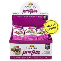 Amrita Foods - Top 14 Allergy Free, Sunflower Butter and Jelly Protein Bar, Pack of 12, No Added Sugar