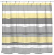 Sunlit Yellow Gray Horizontal Stripes Water-Repellent Fabric Shower Curtain Set with Reinforced Metal Grommets and Rings Refreshing Striped Design Bathroom Decor