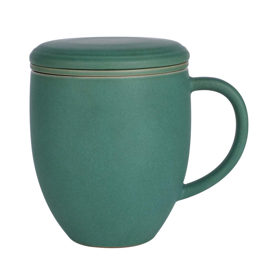 Sunddo Porcelain Tea Cup Single Ceramic Mug with Infuser Filter Steeper Brewing Loose Tea Cups Gifts for Women Men Tea Lovers Green 13 OZ