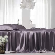 ElleSilk Queen Silk Sheet Set, Deluxe 22 Momme 100% Pure Mulberry Silk Natural Bedding, Seamless, Charcoal Gray