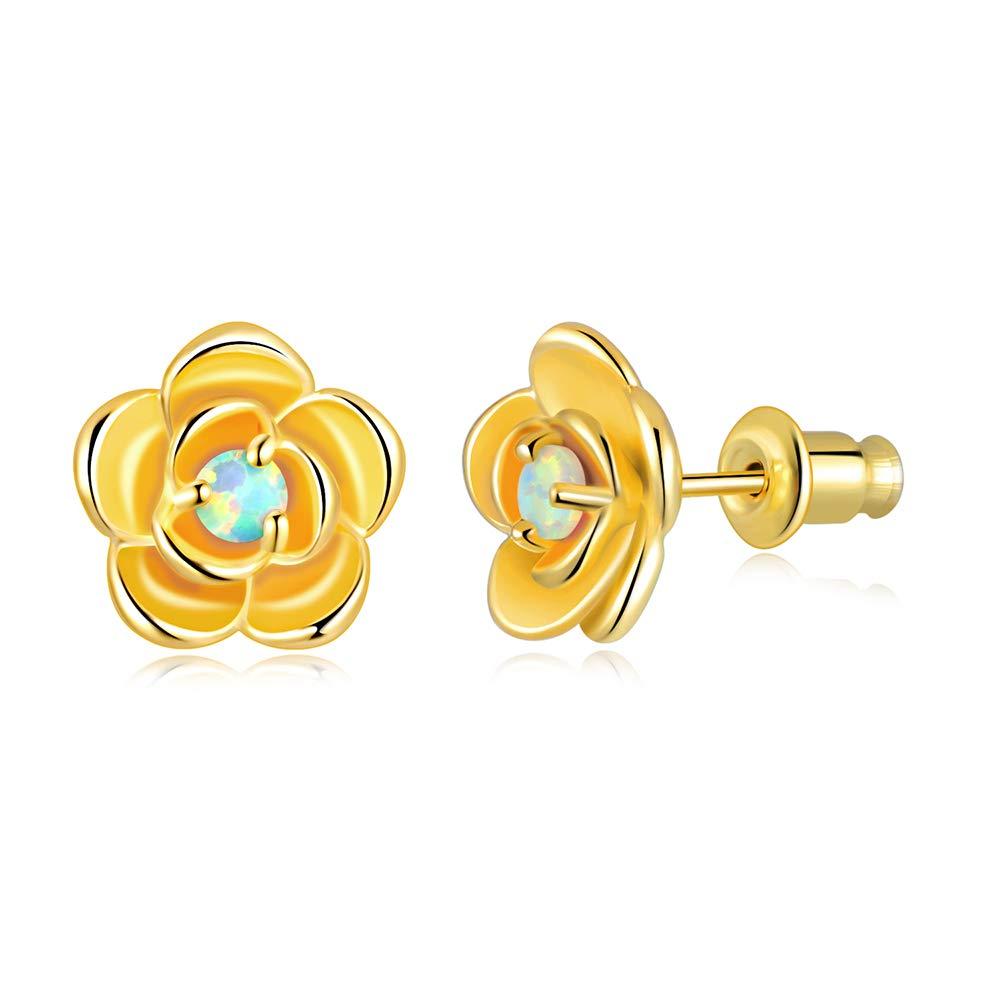CiNily Rose Flower Earring Studs,Opal/Cubic Zirconia Stud Earrings 18K Gold Plated Enamel Stud Gemstone Earrings for Women