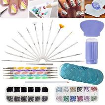 VAGA Manicure Set Nail Art Supplies Nail Kit 2 Boxes of 1500 Gemstones, Crystals, Gems, Stampers Scrapers, Stamping Plates, Dotting Tools, Nails Brushes and Rhinestones Decorations Picker Pencil