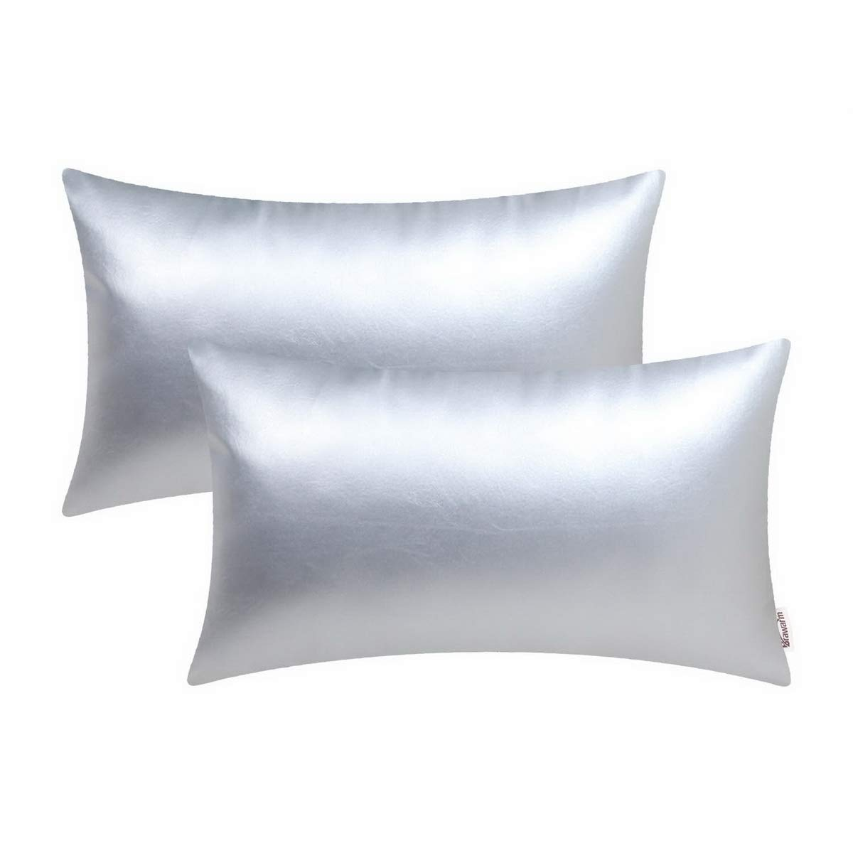 BRAWARM Pack of 2 Cozy Bolster Pillow Covers Cases for Couch Sofa Home Decoration Solid Dyed Soft Faux Leather Both Sides 12 X 20 Inches Silver