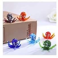H&D HYALINE & DORA Multicolor Octopus Art Glass Blown Mini Sea Animal Figurine,Set of 6