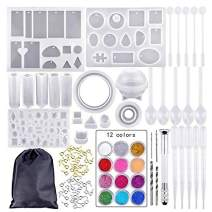 94 Pieces DIY Jewelry Silicone Casting Molds and Tools Set with A Black Storage Bag, Silicone Molds for Resin, DIY Jewelry Craft Making Set
