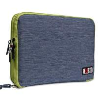 """Three Layer Electronics Organizer and Travel Organizer for Tablet, Cables, Flush Drives, and Chargers. Size XL, fit for 11"""" iPad Pro (Blue and Bright Green)"""