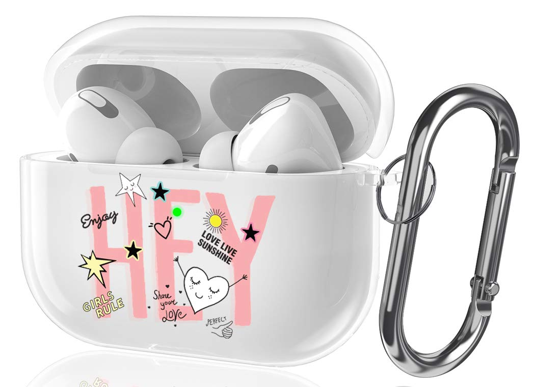Youtec Airpods pro Case Clear with Design, Cute Airpods pro Protective Cover Skin for Girl Women Shockproof Hard Case with Keychain Compatible Airpods pro Charging Case 3rd 2019[Front LED Visible]