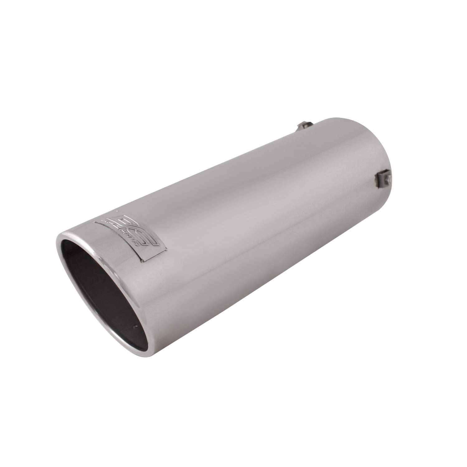 DC Sports EX-1016 Stainless Steel Round Slant Cut High Performance Exhaust Tip - Dimensions: 4 in (intake) x 4.5 in (outlet) x 13.25 in (length)