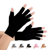 2 Pairs Arthritis Compression Gloves for Arthritis Pain Relief, Rheumatoid, Osteoarthritis and Carpal Tunnel for Men and Women, Fingerless for Typing (Pure Black, Large)