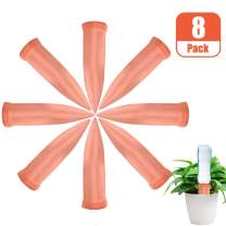 Recie Plant Watering Devices, Plant Waterer Self Watering Terracotta Spikes Automatically Water Your Indoor and Outdoor Plants While On Vacation (8 Pack, Orange)