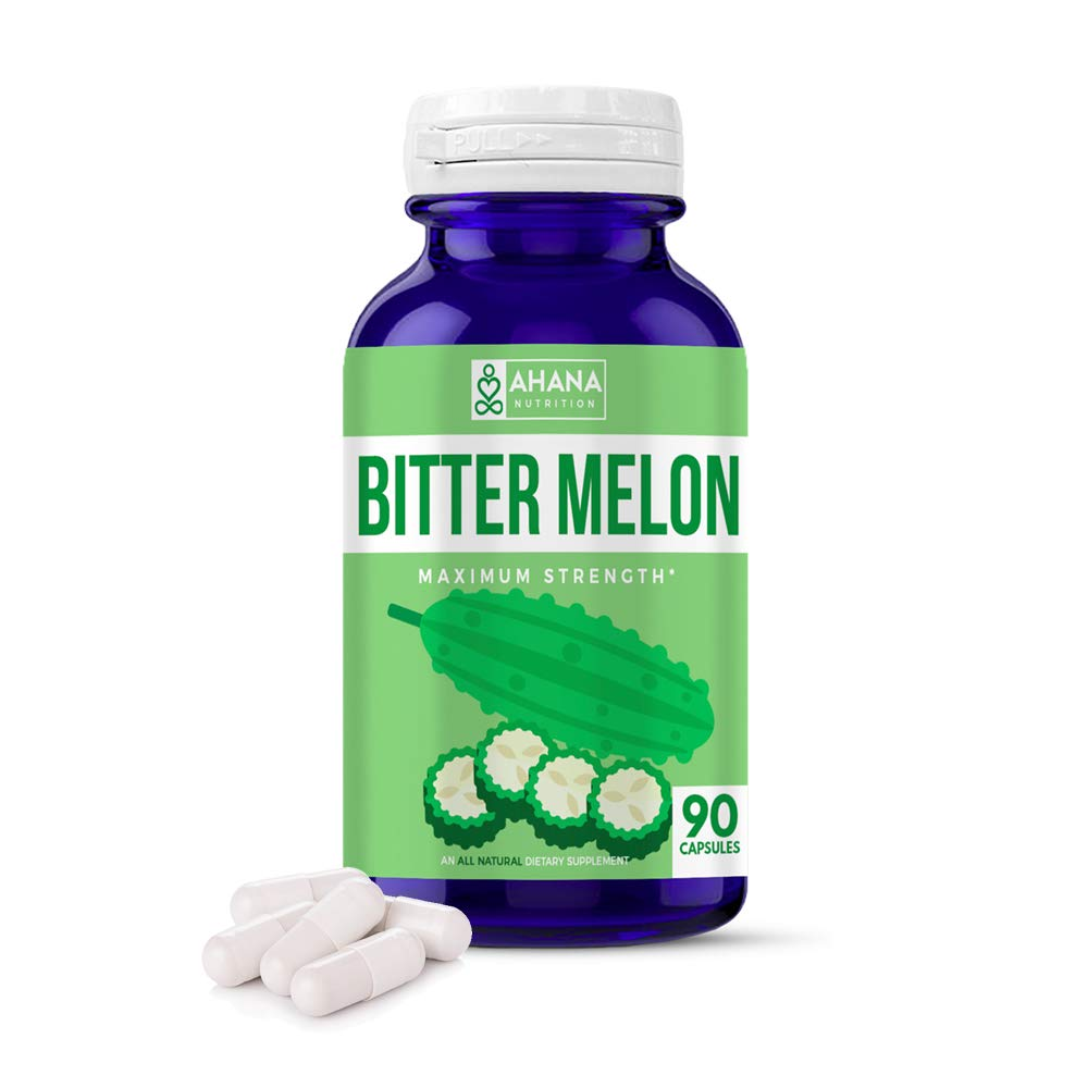 Organic Bitter Melon Capsules by Ahana Nutrition - Karela Powder Pills to Aid Weight Management, Blood Sugar Support and Pancreatic Support (500mg - 90ct Bottle) (90 Capsules)