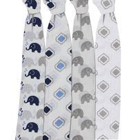Bacati - Elephants Muslin Swaddling Blankets Set of 4 (Blue/Grey)
