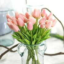 Bringsine Premium Artificial Flowers Real Touch Mini PU Tulips Bouquet Artificial Plants for Wedding Room Home Hotel Party Event Christmas Decoration Pink Set of 20