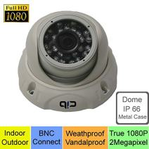 CIB True HD-TVI 1080P 2.1Megapixel HD Vandal Dome Cameras, BNC Connect Type. Connect to HD-TVI Security DVR System Only. - T80P03W