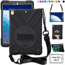 ZenRich iPad Air 3 Case 2019, iPad Pro 10.5 Case 2017, 360 Rotating Kickstand Hand Strap & Shoulder Belt Shockproof Heavy Duty Rugged Case for iPad 10.5 inch Tablet 2017/2019 Release-Black