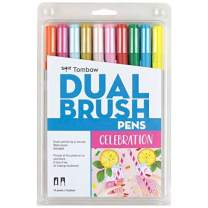 Tombow 56215 Dual Brush Pen Art Markers, Celebration, 10-Pack. Blendable, Brush and Fine Tip Markers