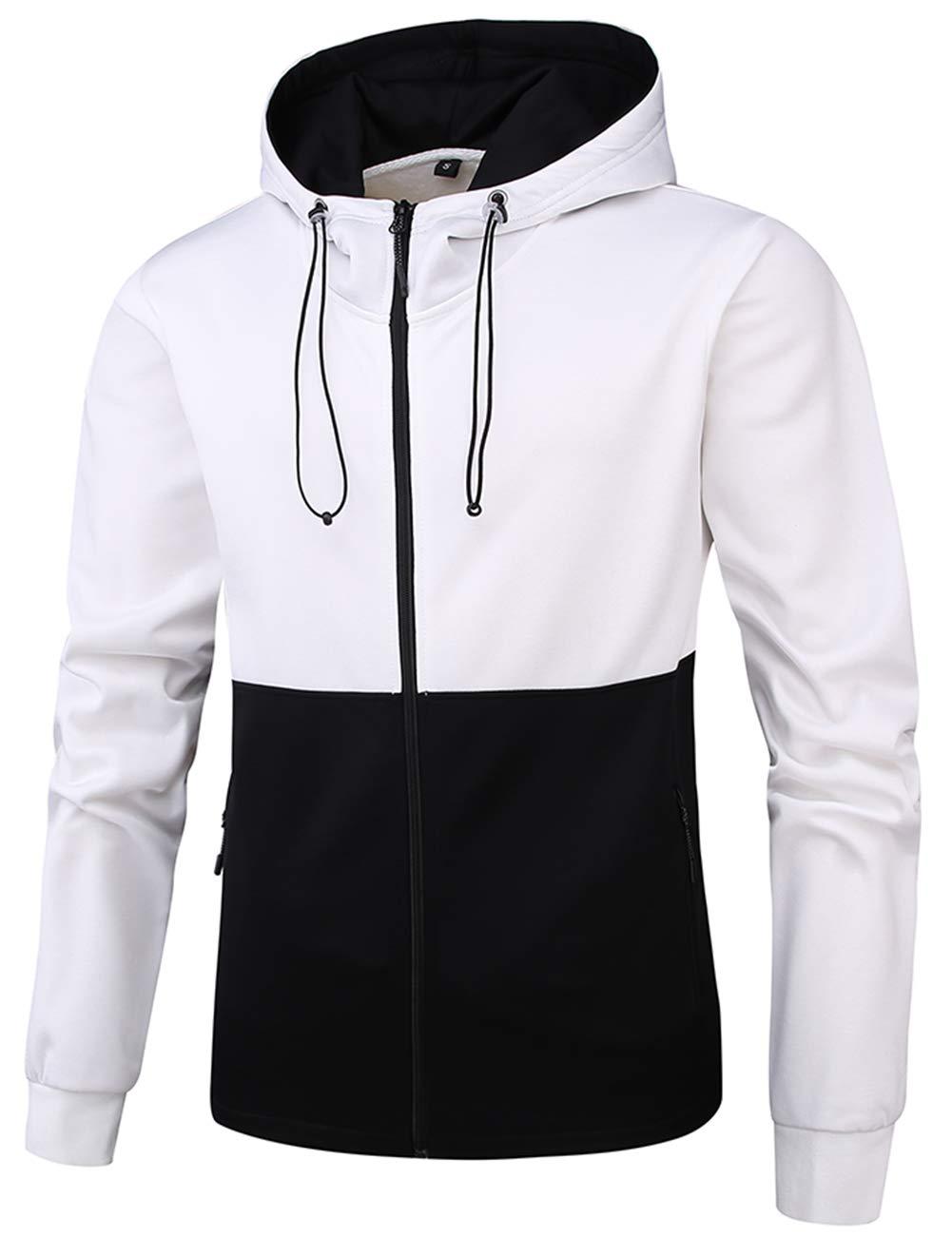 DUOFIER Men's Full Zip Hooded Active Sweatshirt Color-Blocking with Side Zipper Pockets