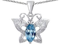 Star K Sterling Silver Love Butterfly Pendant Necklace with Marquise Shape Stone