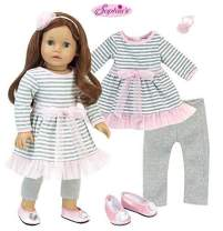 Sophia's Complete 18 Inch Doll Clothes Outfit | 4 Pc Set | Gray and White Striped Dress with Pink Hem, Flower Hair Accessory, Gray Leggings and Pink Shoes
