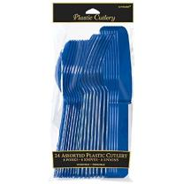 Amscan Premium Assorted Party Cutlery, 24 piece, Navy Flag Blue