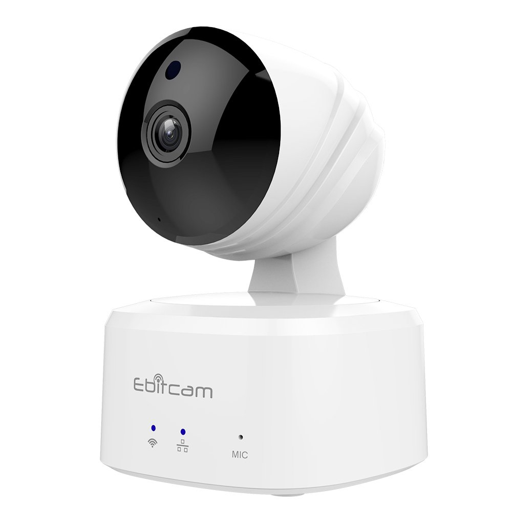 Ebitcam Smart Home WiFi Camera,Pan/Tilt/Zoom Remote Monitor, Night Vision, Two-Way Audio, Motion Alarm, Available for iOS/Android/PC,Cloud Service Available,Work with Alexa