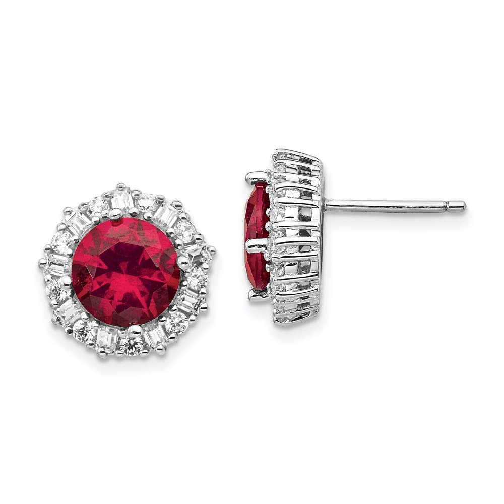 925 Sterling Silver Created Red Ruby Cubic Zirconia Cz Post Stud Earrings Ball Button Fine Mothers Day Jewelry For Women Gifts For Her