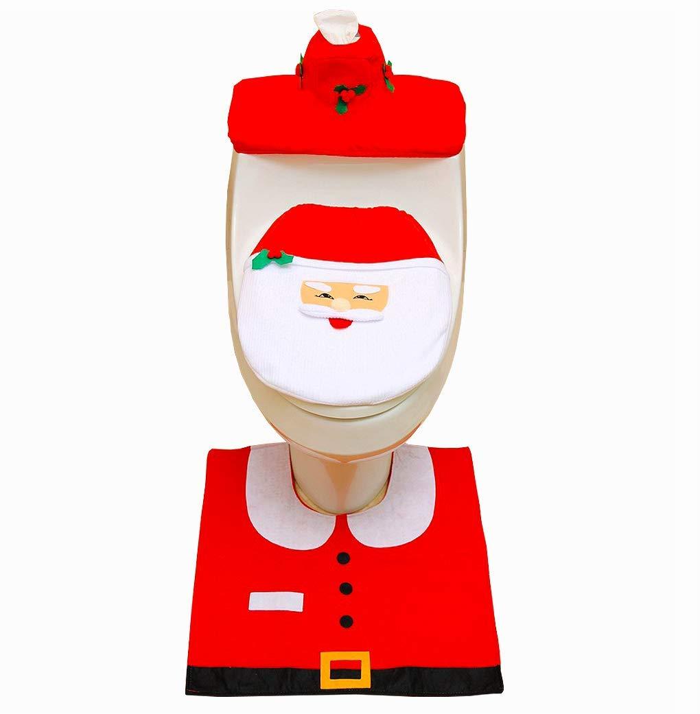 ASOONYUM Santa Toilet Tank & Seat Covers for Red Christmas Decorations Bathroom Set of 3 pcs (Tank Lid +Anti-Slip Floor Mats + Tissue Box Case)