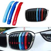 Muchkey 3D M Car Styling Front Grille Insert Trim Motorsport Strips Grill Cover Performance Stickers for 2016-2018 BMW X1 F48 8 Grilles