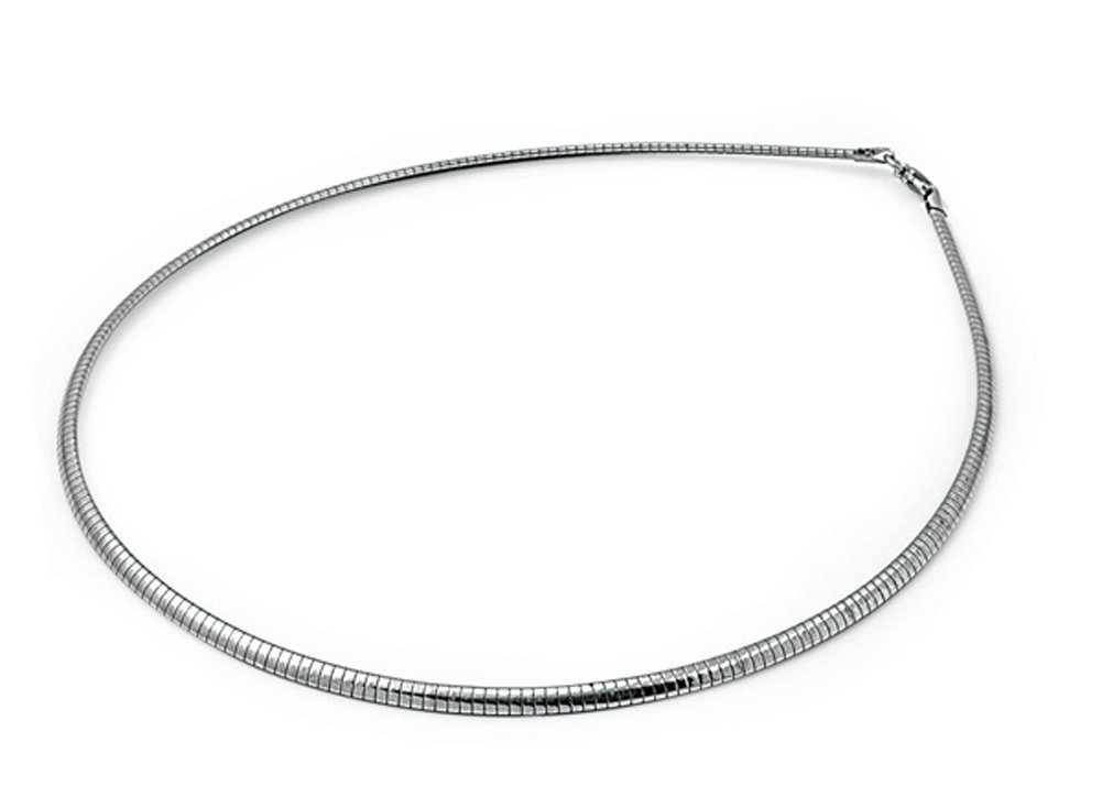 Sterling Silver Reversible Omega Snake Chain 3mm Solid 925 Italy New Necklace