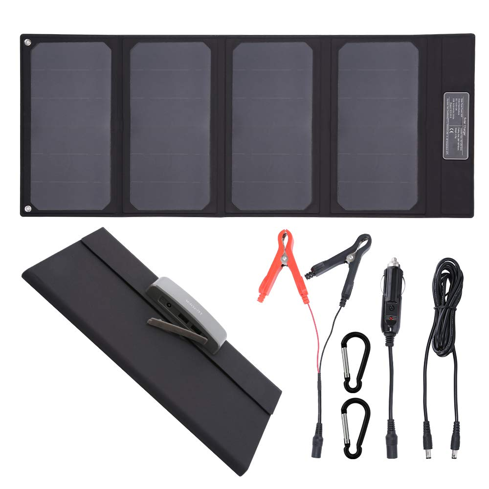 TP-solar 30W Foldable Solar Panel Portable Battery Charger Kit with Dual 5V USB Ports & 15V DC Output for Cell Phone Power Bank Car Boat RVs Off Grid Charge 12V Batteries & 5V Device