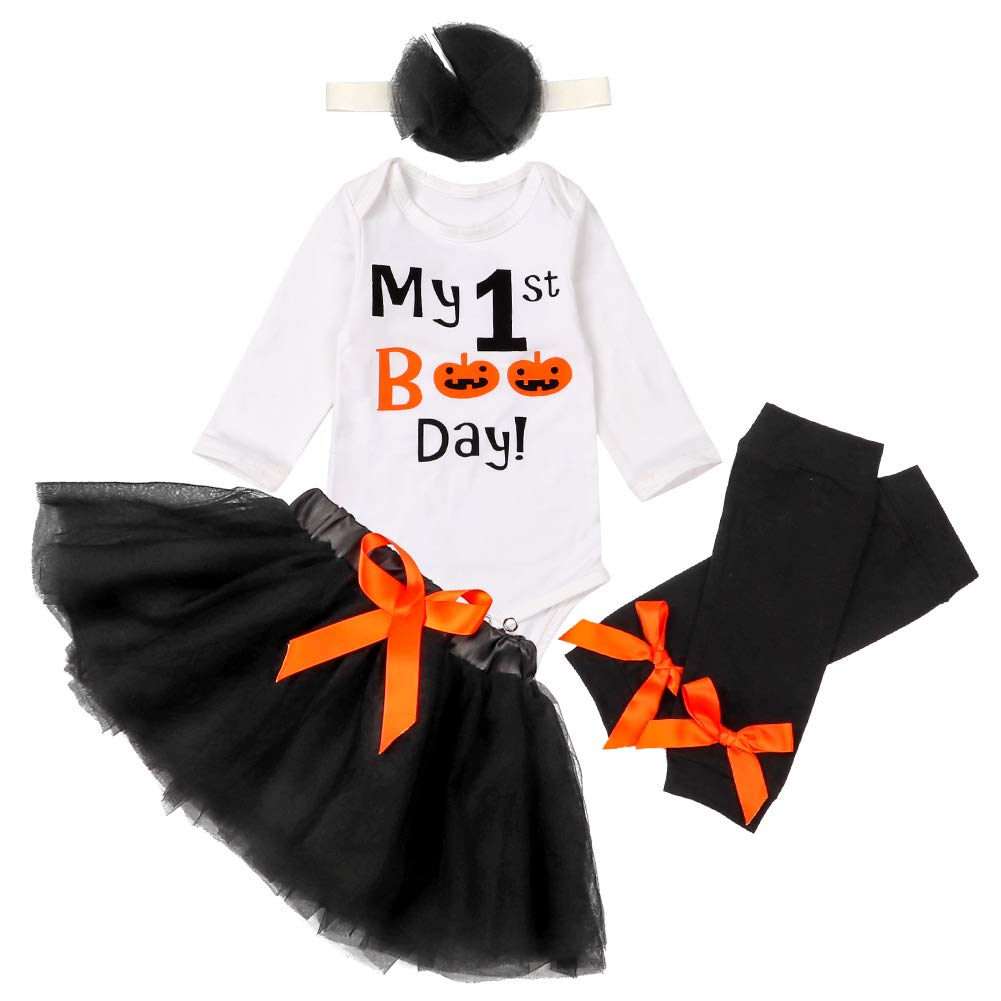 My First Halloween Newborn Baby Girls Clothes Romper Bow Tutu Short Skirt + Leg Warmers with Headbands 4Pcs Dress Outfit Set.