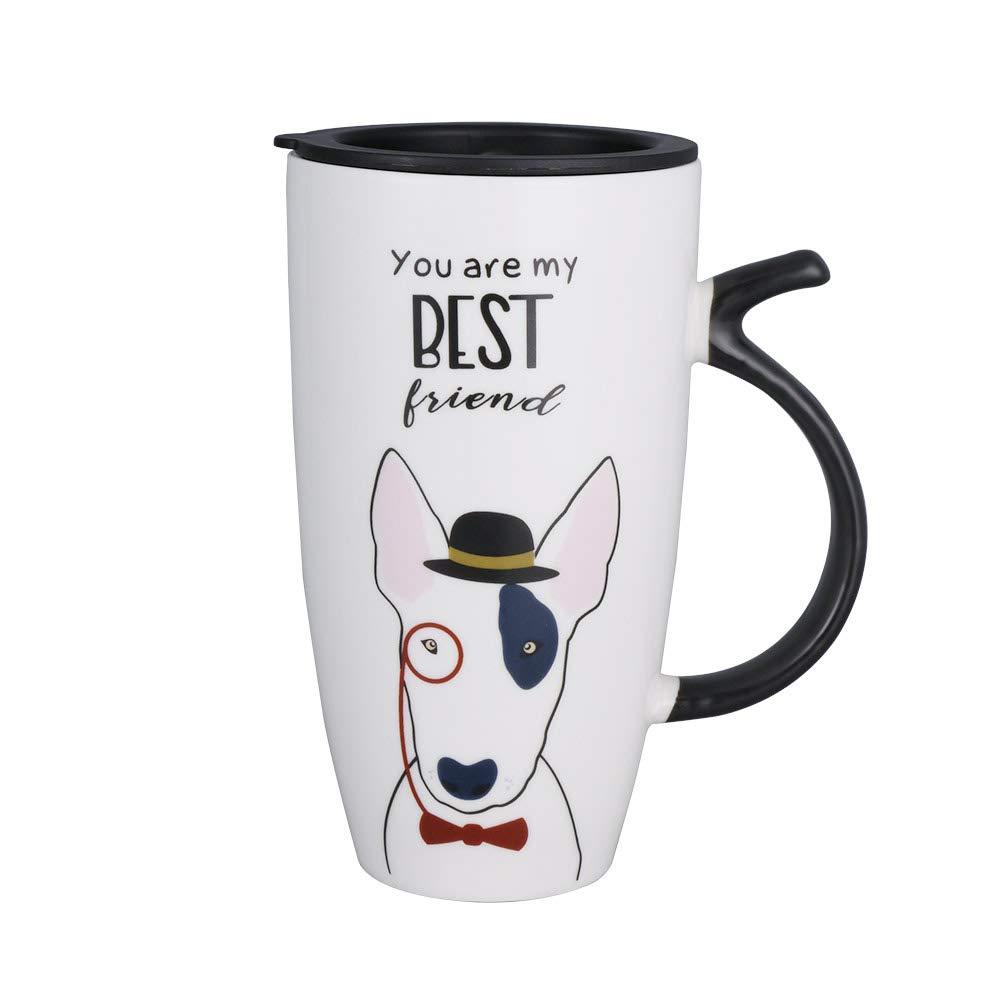 Teagas 20oz Large Ceramic Cute Dog Funny Coffee Mug Tall Animal Mug with Lid White