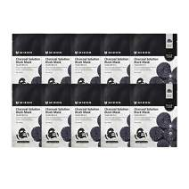Mizon Solution Black Mask Volcanic Ash with Minerals, Far-Infrared Radiation for Detox, Deep Clean Skin, Black Mask Sheet Delivers Nutrients, Pore Care, Spa Treatment Mask Sheet (Set of 10) (Charcoal)