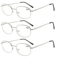 Eyekepper Metal Frame Spring Hinged Arms Reading Glasses 3 Pair Valupac Metal Readers Silver +0.75