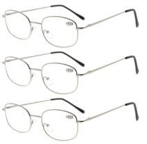 Eyekepper Metal Frame Spring Hinged Arms Reading Glasses 3 Pair Valupac Metal Readers Silver +0.75